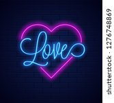 neon text love and heart shape... | Shutterstock .eps vector #1276748869