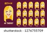 flat cartoon girl with long... | Shutterstock .eps vector #1276755709