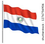 flag of paraguay with flag pole ... | Shutterstock .eps vector #1276756906