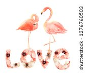 living coral flamingos in love. ... | Shutterstock . vector #1276760503