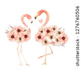 living coral flamingos in love. ... | Shutterstock . vector #1276760506