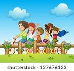 illustration of children riding ... | Shutterstock .eps vector #127676123