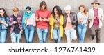 group of millennial friends... | Shutterstock . vector #1276761439