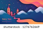 fairy castle at nite behind...   Shutterstock .eps vector #1276762669