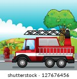 Illustration Of A Fire Engine...