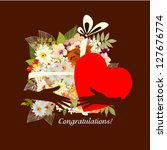 greeting card with flowers and... | Shutterstock .eps vector #127676774
