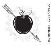 apple target pierced with arrow ... | Shutterstock .eps vector #1276779820