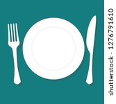 cutlery.plate fork and knife.... | Shutterstock .eps vector #1276791610