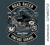 road racer tshirt design | Shutterstock .eps vector #1276802713