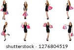 young woman wth bags in... | Shutterstock . vector #1276804519