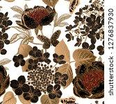 peonies  hydrangea and... | Shutterstock .eps vector #1276837930