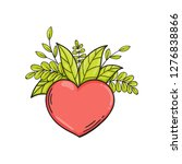 heart with green leaves. symbol ... | Shutterstock .eps vector #1276838866