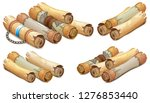 set old royal scrolls decorated ...   Shutterstock .eps vector #1276853440