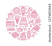 sweet food round poster with... | Shutterstock .eps vector #1276853443