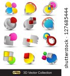 vector shape 3d icons   high... | Shutterstock .eps vector #127685444