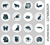 animal icons set with butterfly ... | Shutterstock . vector #1276862629