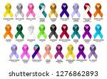 set ribbon all cancers. cancer... | Shutterstock . vector #1276862893