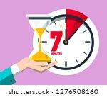 7 minutes on clock vector flat... | Shutterstock .eps vector #1276908160