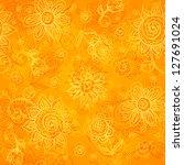 Orange Floral Bright Vector...