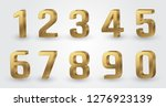 golden 3d numbers set | Shutterstock .eps vector #1276923139