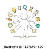 cartoon businessman with many... | Shutterstock .eps vector #1276934620
