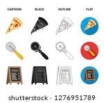a pizza cutter  a slice  a menu ... | Shutterstock . vector #1276951789