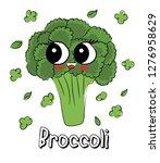 sweet  cute broccoli cartoon... | Shutterstock .eps vector #1276958629