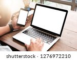 close up of man using mobile... | Shutterstock . vector #1276972210