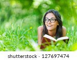 beautiful smiling dark haired... | Shutterstock . vector #127697474
