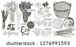wooden crate and basket full of ... | Shutterstock . vector #1276991593