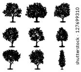 set of trees silhouettes | Shutterstock .eps vector #127699310