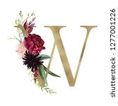 floral alphabet   letter w with ... | Shutterstock . vector #1277001226