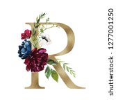 floral alphabet   letter r with ... | Shutterstock . vector #1277001250