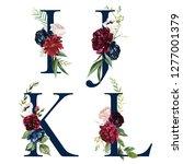 floral alphabet set   navy... | Shutterstock . vector #1277001379