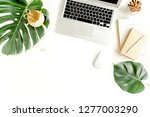 flat lay home office desk.... | Shutterstock . vector #1277003290