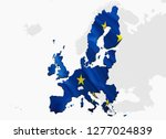 euro zone concept. flag map of... | Shutterstock . vector #1277024839