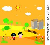 boy and girl in brighter day 2 | Shutterstock .eps vector #127702664