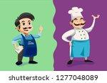 winemaker or food vendor at... | Shutterstock .eps vector #1277048089