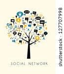 tree of social media and social ... | Shutterstock .eps vector #127707998