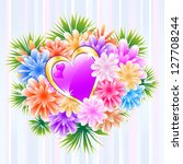 flower bouquet and purple love... | Shutterstock .eps vector #127708244