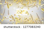 2019 realistic gold tinsel... | Shutterstock .eps vector #1277083240