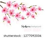 spring background with sakura... | Shutterstock .eps vector #1277092036