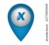 letter x and map pin. logo...