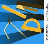 workplace desk ruler compass... | Shutterstock .eps vector #1277116369