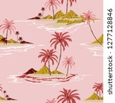 tropical island hand drawing... | Shutterstock .eps vector #1277128846