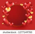 heart balloons on circle frame... | Shutterstock .eps vector #1277149783