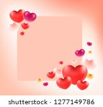group of heart on red paper.... | Shutterstock .eps vector #1277149786