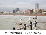 seagulls on brighton pier   Shutterstock . vector #127715969