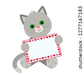 funny character kitten holds in ... | Shutterstock .eps vector #1277167183