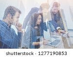 business team meeting double... | Shutterstock . vector #1277190853